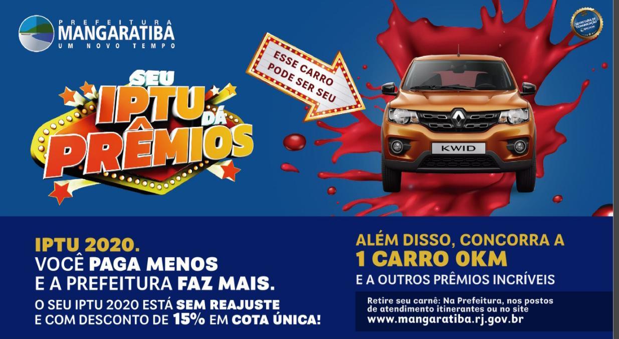 Mangaratiba: IPTU 2020 tem 15% de desconto para pagamento em cota única e sorteio de carro zero e motocicleta