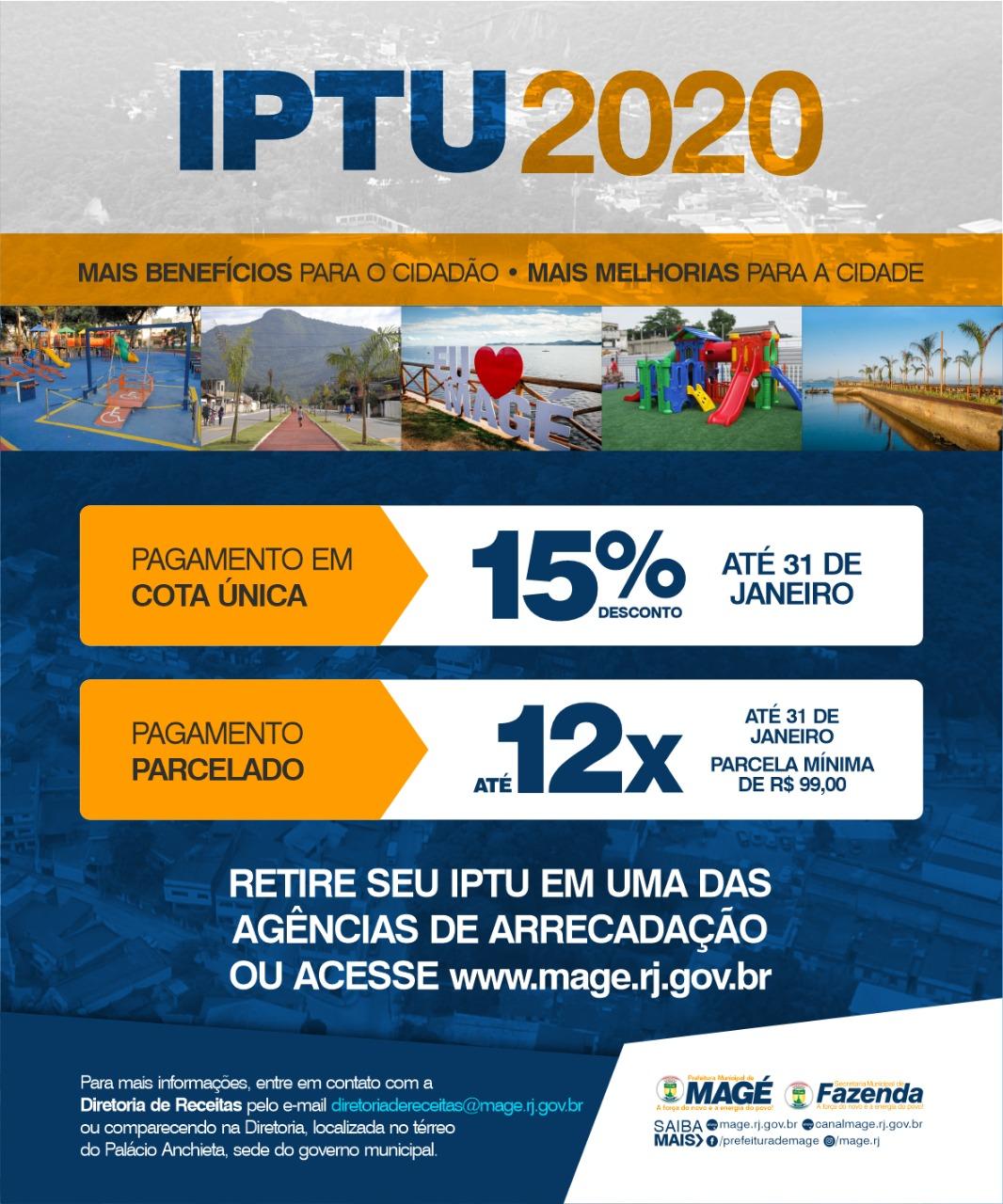 Prefeitura de Magé oferece 15% de desconto no IPTU 2020 e débitos antigos ainda podem ser parcelados