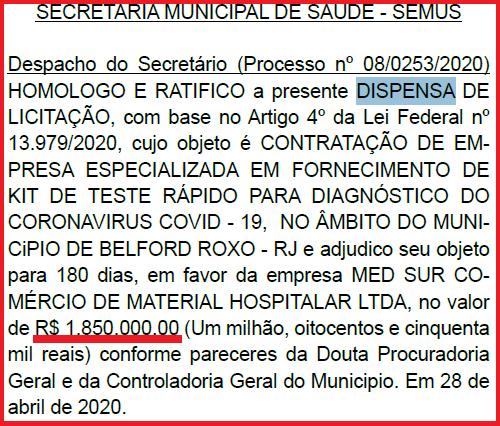 Saúde de Belford Roxo compra R$ 1,850 milhão em kits de teste para coronavírus, mas não revela quantidade adquirida