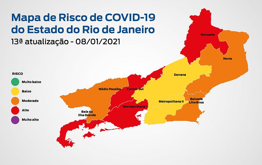 Covid-19: Mapa mostra que regiões Metropolitana II e Serrana do Rio de Janeiro melhoram e voltam a apresentar baixo risco