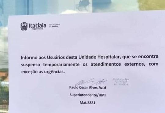"""""""Crise moral e de gestão"""" fecha o Hospital de Itatiaia, e movimento pela substituição do prefeito interino começa a crescer"""