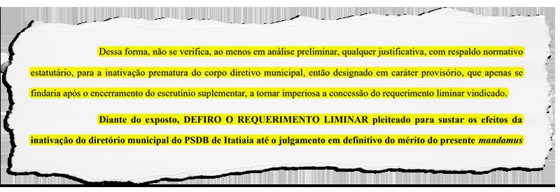 Justiça devolve comando do PSDB de Itatiaia aos antigos membros do diretório municipal