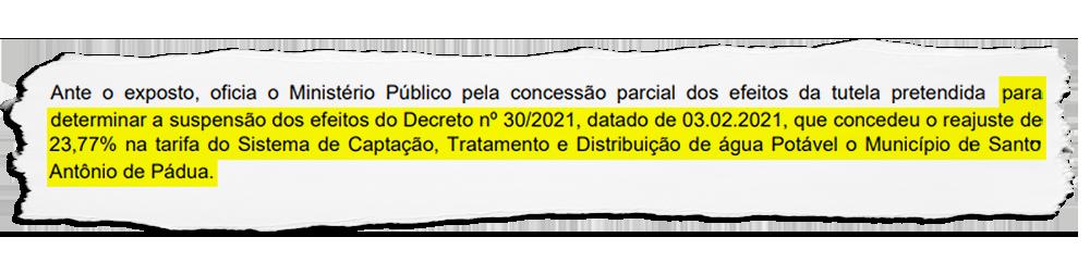 Santo Antônio de Pádua: Promotoria dá parecer contrário ao aumento da tarifa da água cobrada por empresa contratada sem licitação