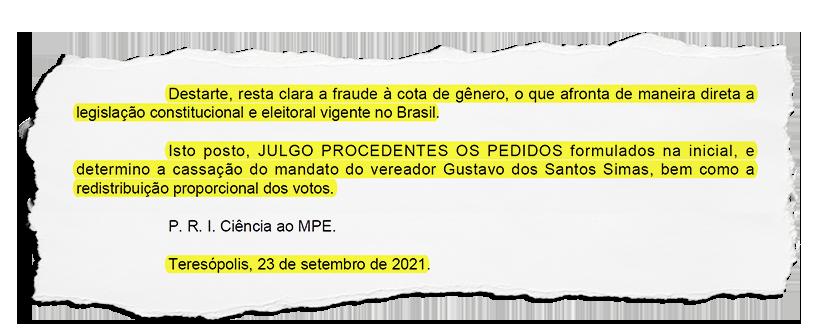 Justiça cassa mandato de vereador em Teresópolis e determina redistribuição dos votos, o que mudará formação da Câmara