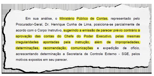 Pressão do prefeito de Miguel Pereira para manter parceiro no comando do Legislativo seria motivada por parecer contrário nas contas de 2020