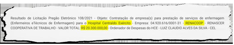 Cooperativa que, segundo o MPF, é ligada ao esquema do empresário Mário Peixoto, ganha licitação para serviços de enfermagem no Hospital do Exército